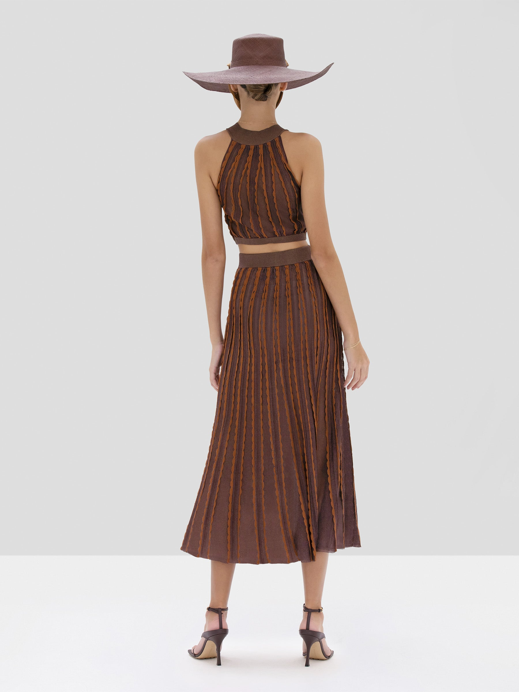 Alexis Keva Crop Top and Zea Skirt in Mocha from Spring Summer 2020 Collection - Rear View