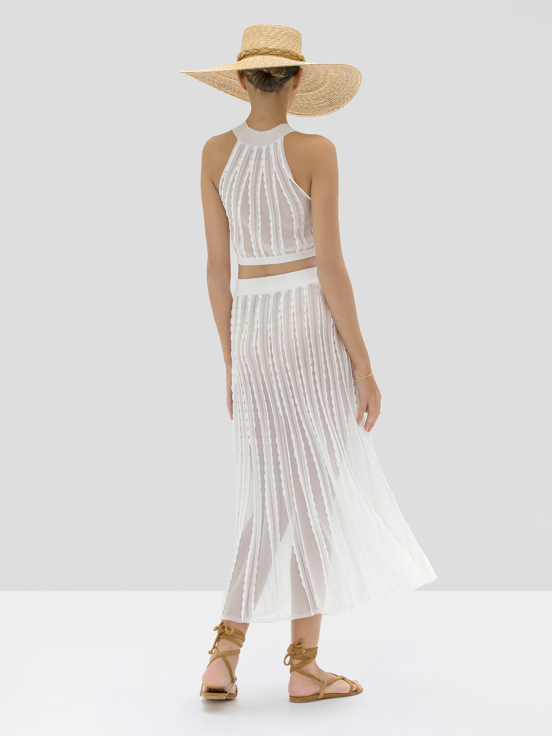 Alexis Keva Crop Top and Zea Skirt in White from Spring Summer 2020 Collection - Rear View