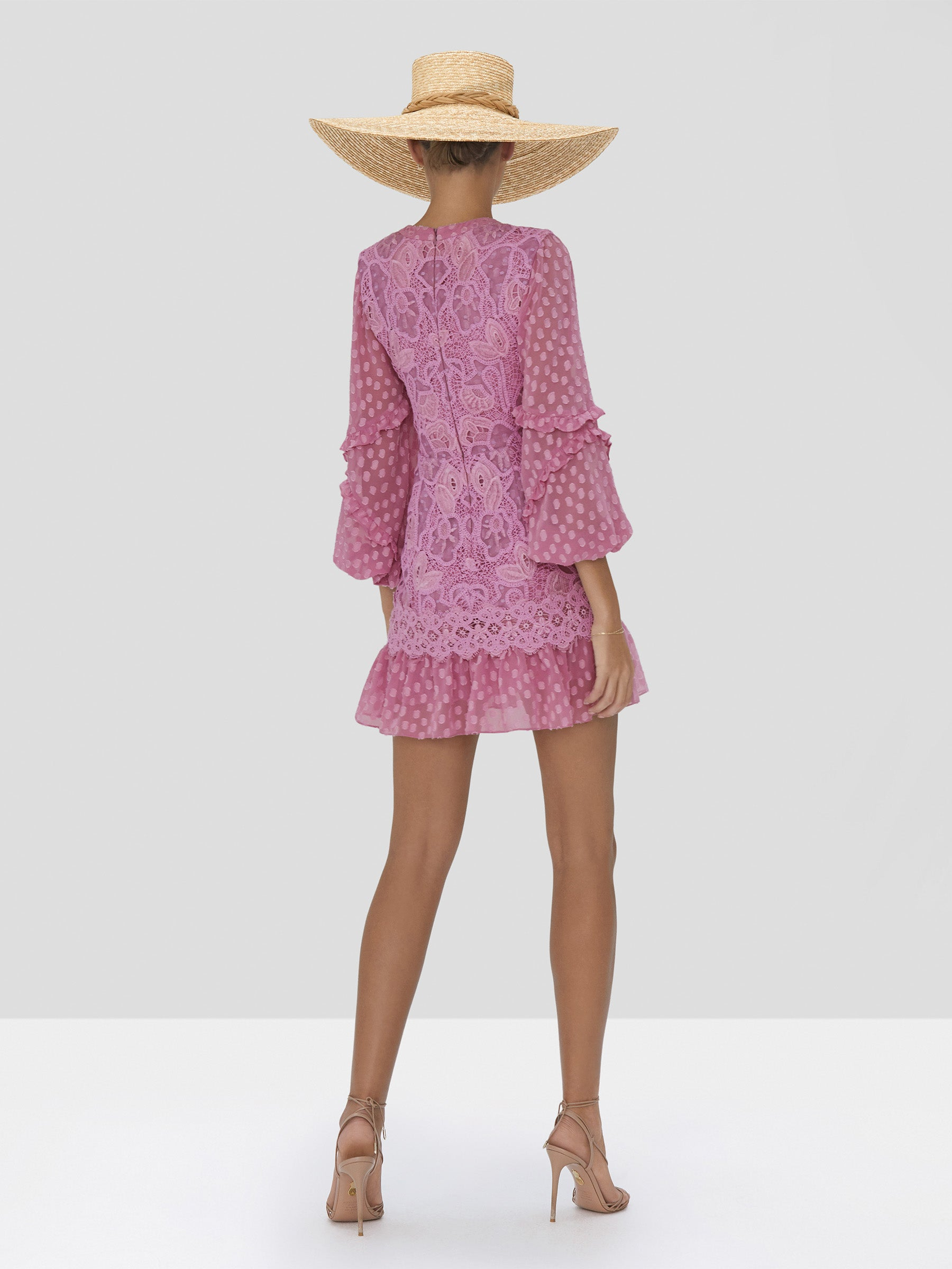 zendaya dress in lilac macrame  - Rear View