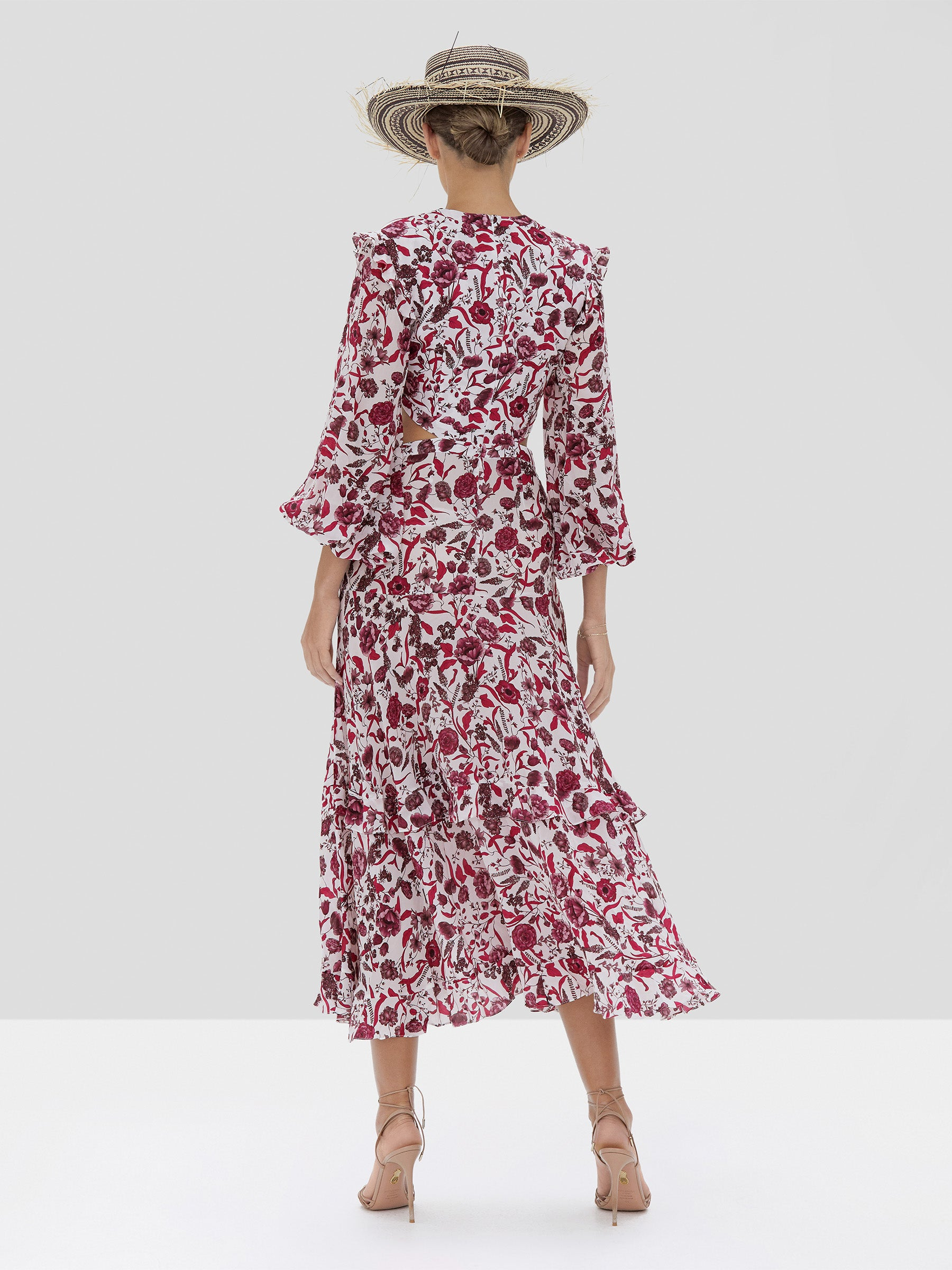 The Nakkita Dress in Berry Floral from the Spring Summer 2020 - Rear View