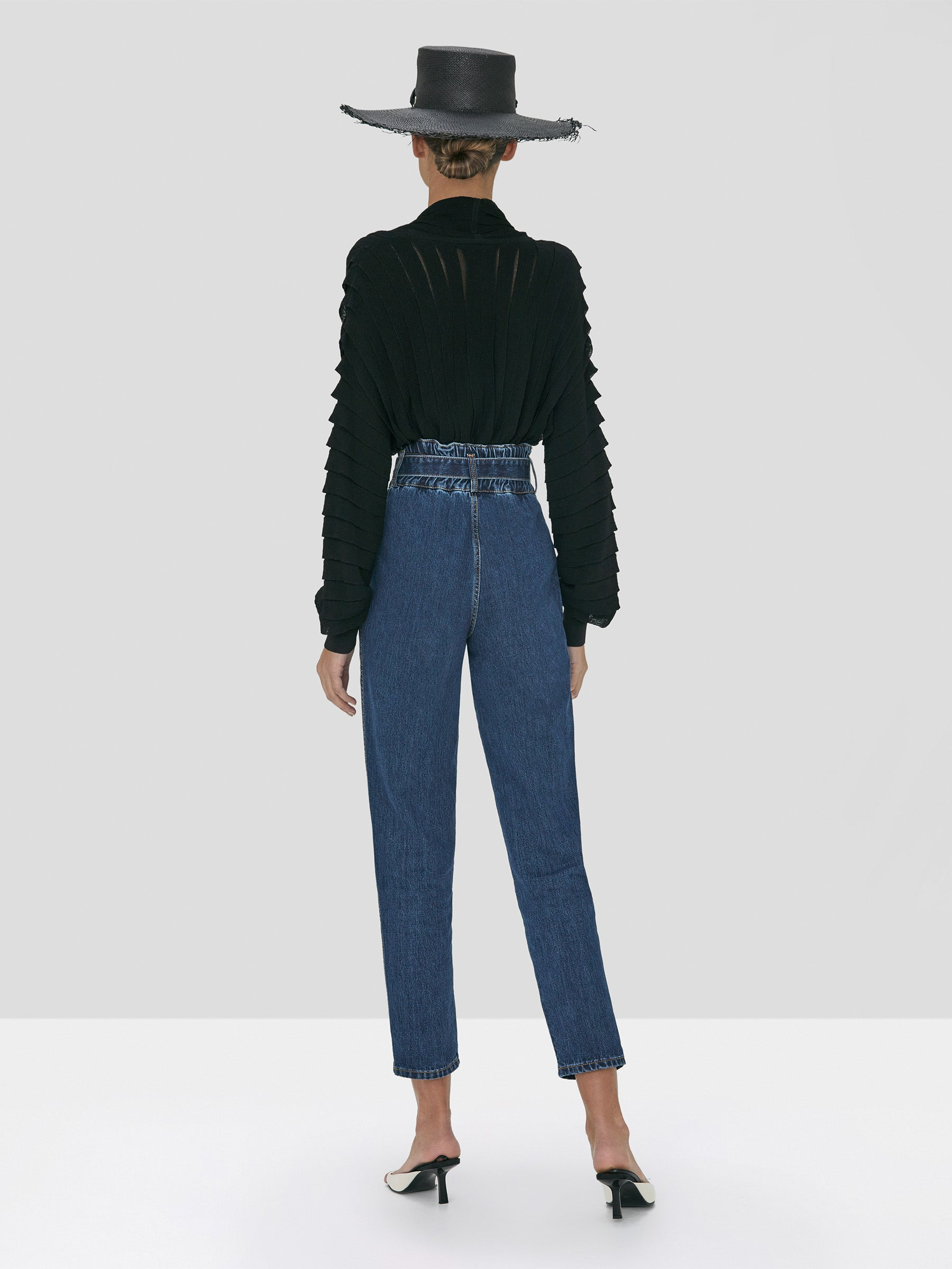 Alexis Oziel Top in Black and Stannis Denim Pant in Washed Denim from Spring Summer 2020 - Rear View