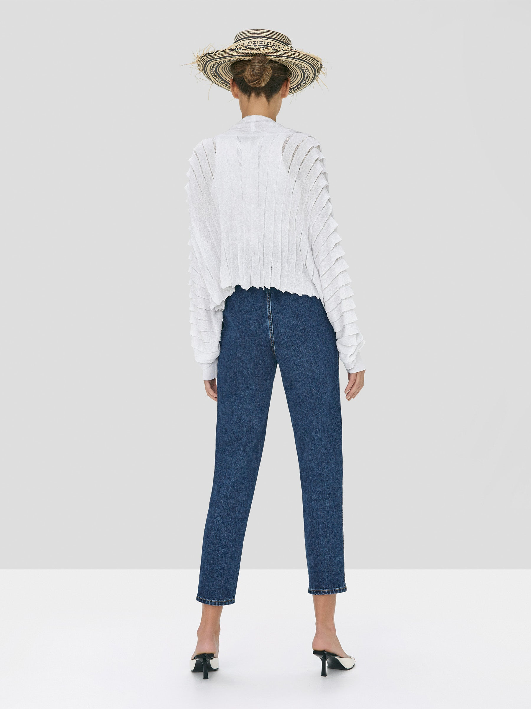 Alexis Oziel Top in White and Stannis Denim Pant in Washed Denim from Spring Summer 2020 Collection - Rear View