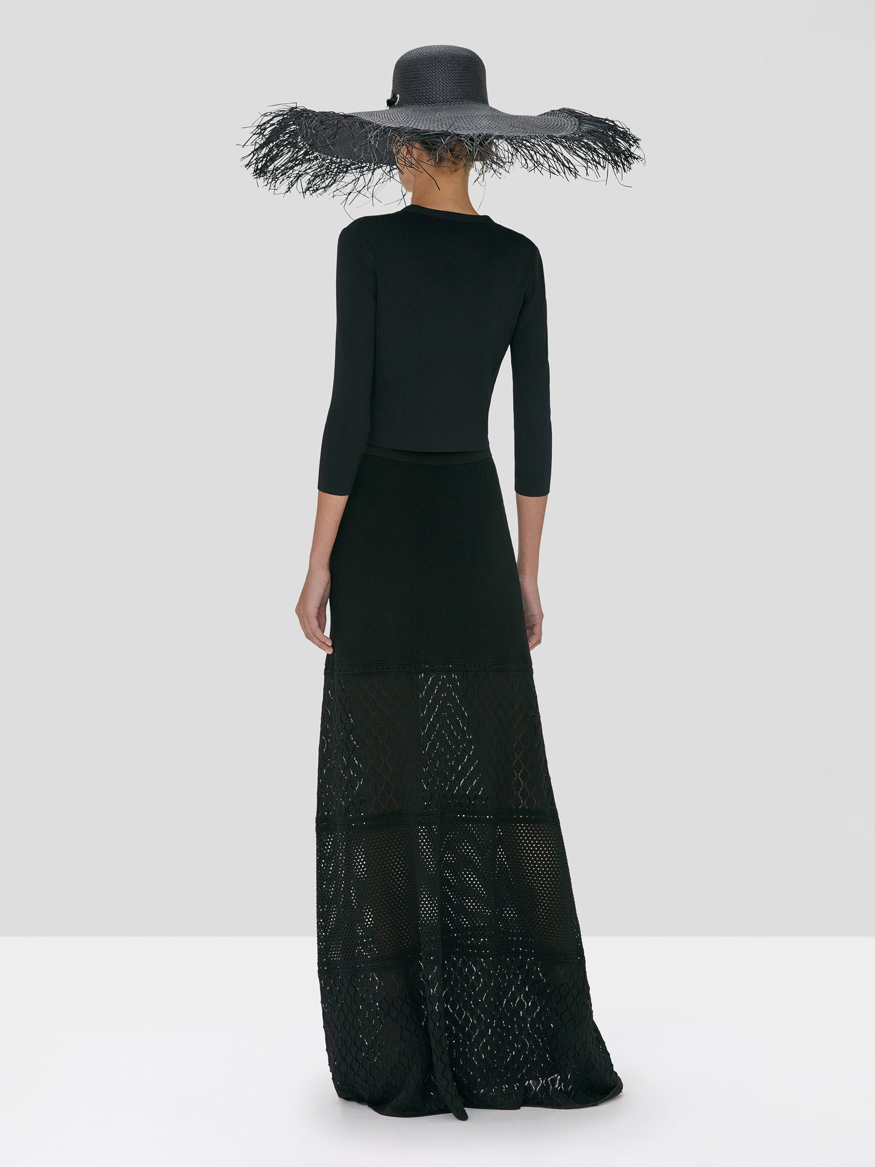 Alexis Petal Cardigan in Black and Ecco Skirt in Black from the Spring Summer 2020 Collection - Rear View
