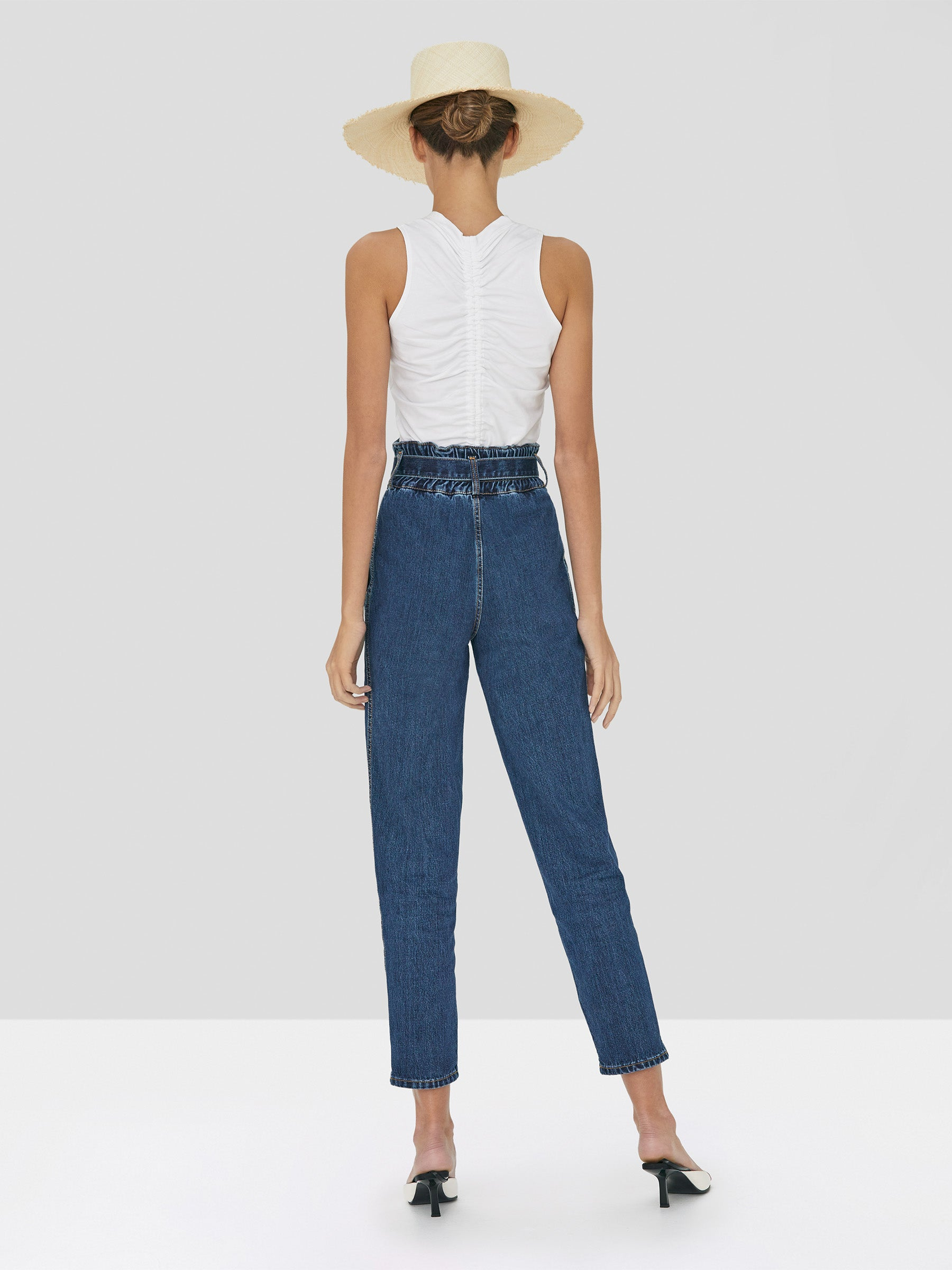 Alexis Teo Top in White and Stannis Denim Pant in Washed Denim from Spring Summer 2020 - Rear View
