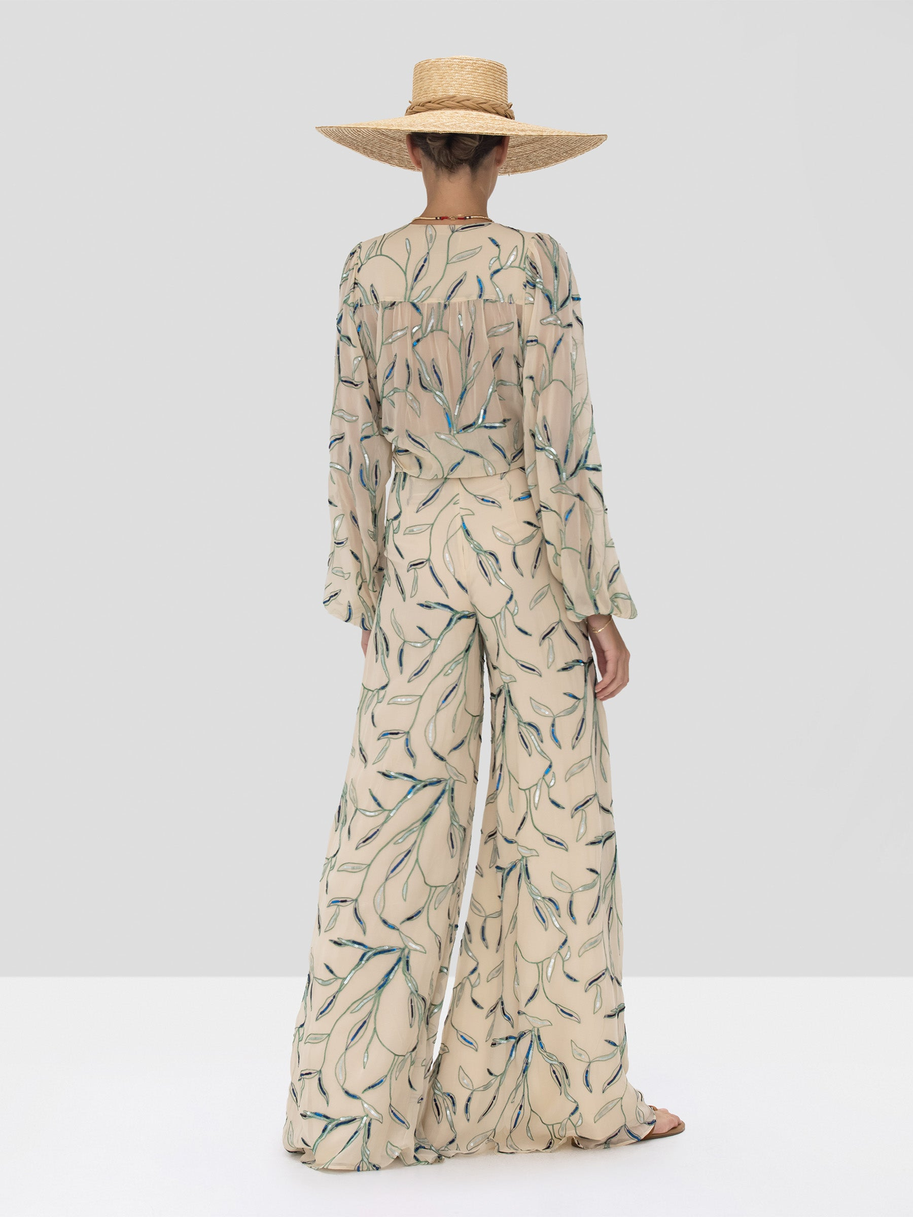 Alexis Valez Top and Fallen Pant in Tan Sequin Embroidery from the Spring Summer 2020 Collection - Rear View