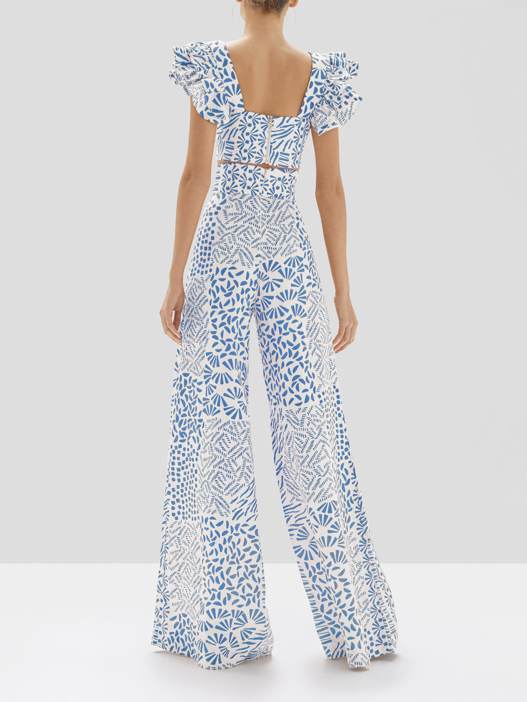 Alexis Verna Top and Neassa Pant in Blue Abstract from our Pre-Spring 2020 Ready To Wear Collection - Rear View