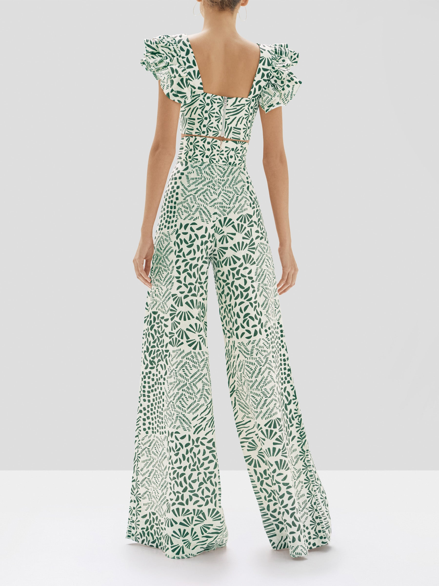 Alexis Verna Top and Neassa Pant in Green Abstract from our Pre-Spring 2020 Ready To Wear Collection - Rear View