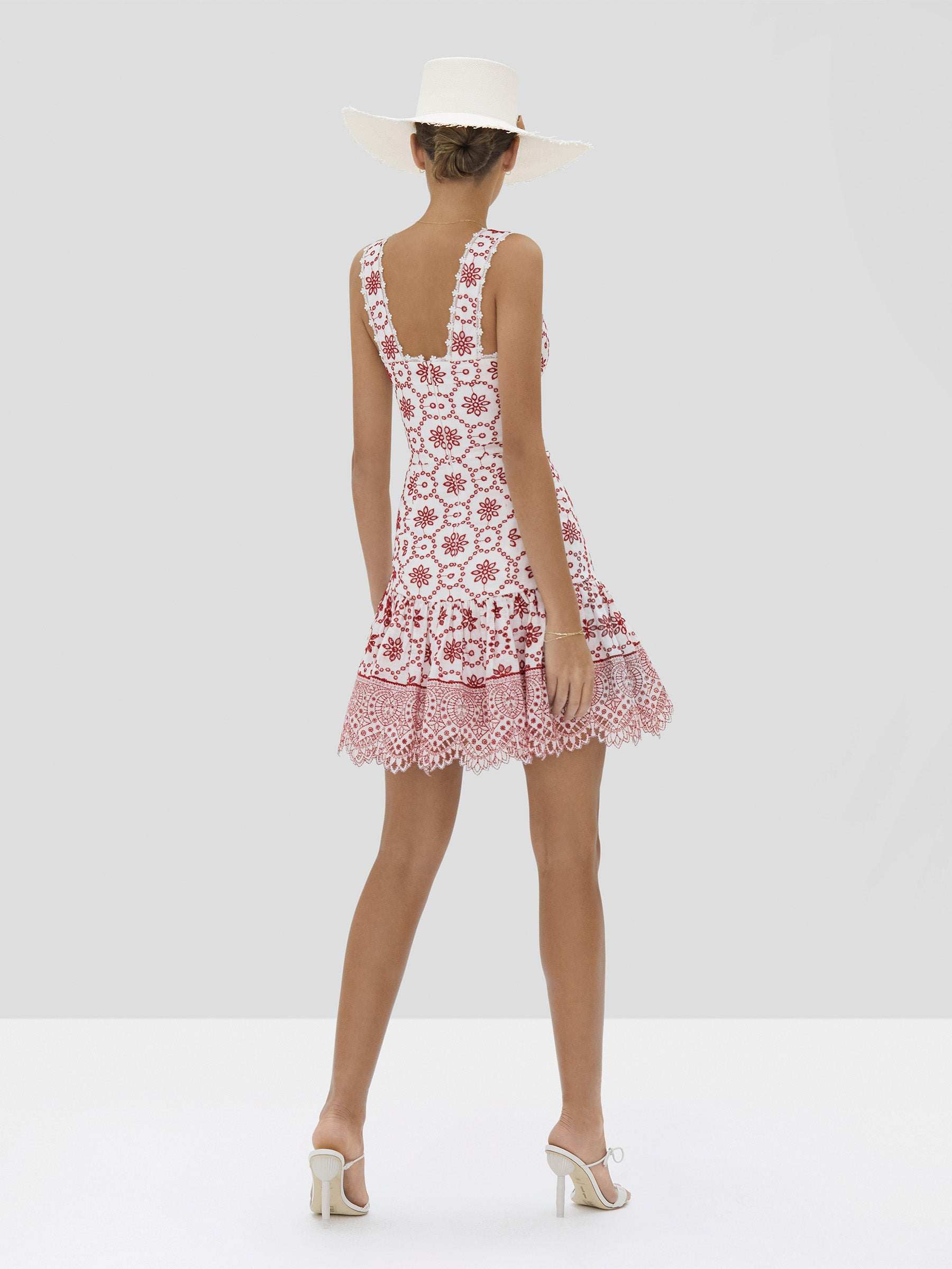 The Villa Dress in Berry Eyelet Embroidery from the Spring Summer 2020 - Rear View