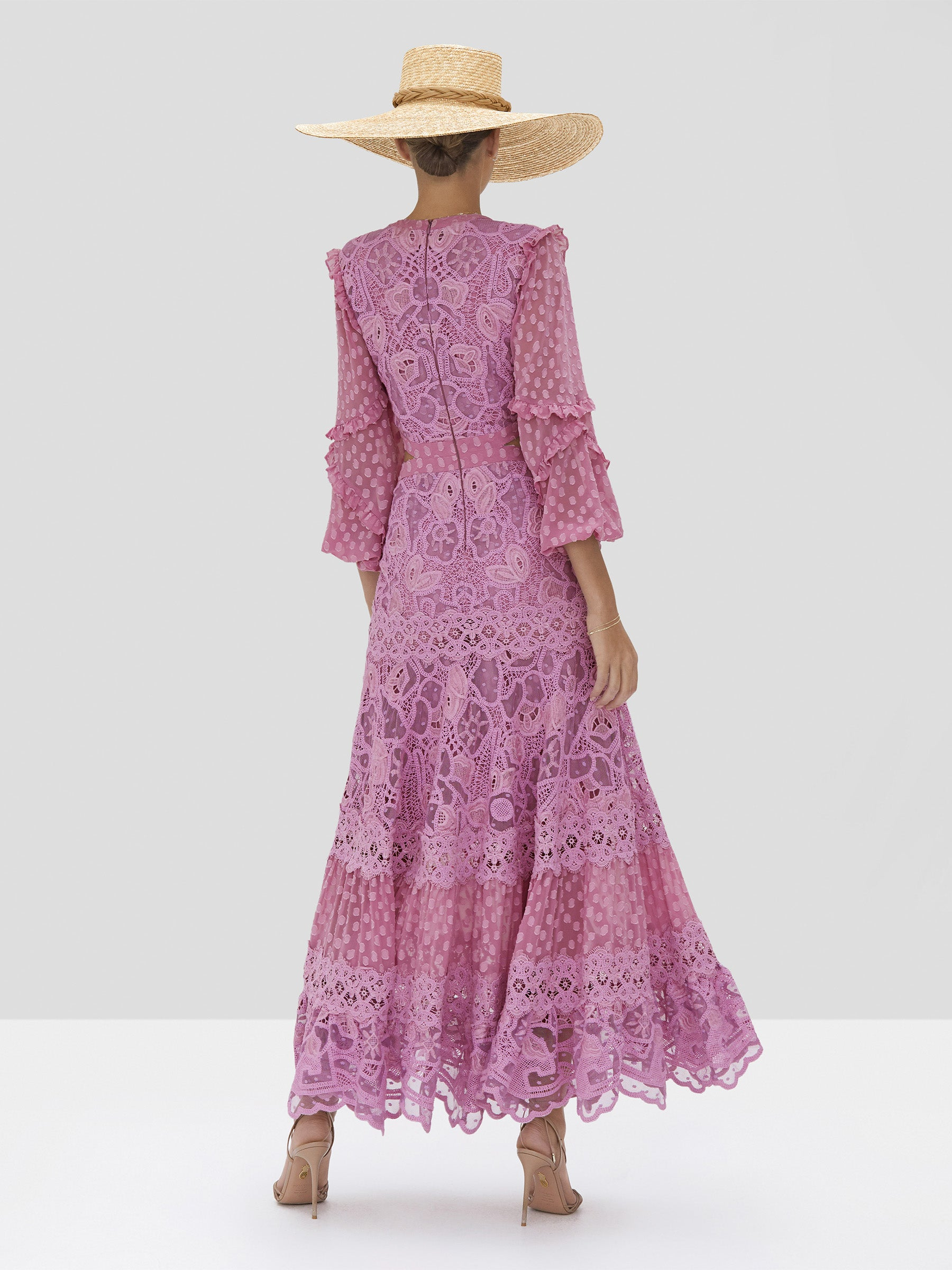 The Zendaya Dress in Lilac Macrame from the Spring Summer 2020 - Rear View