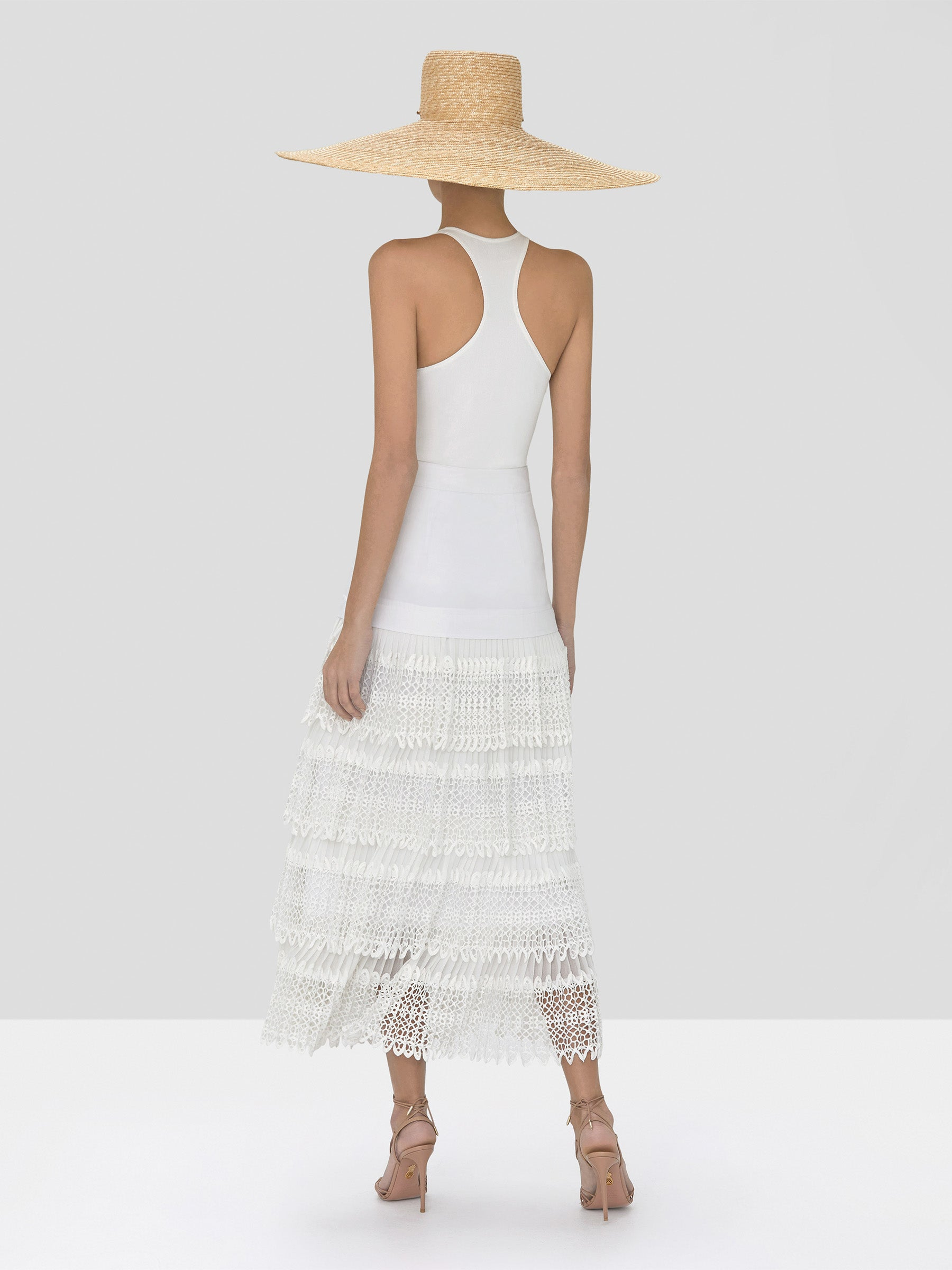 Alexis Zeni Top in White and Helis Skirt in White from Spring Summer 2020 - Rear View