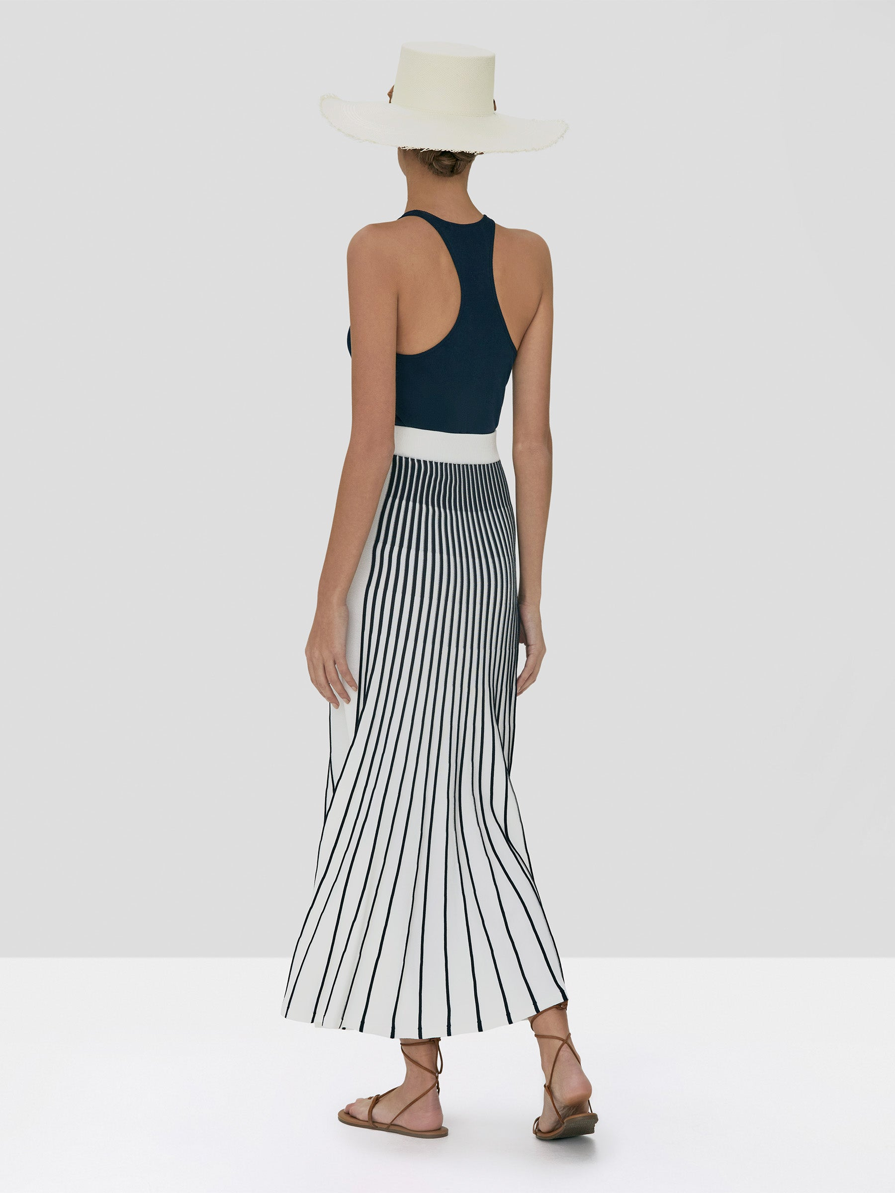 Alexis Zeni Top in Navy and Vani Skirt in Navy White Stripe from Spring Summer 2020 - Rear View