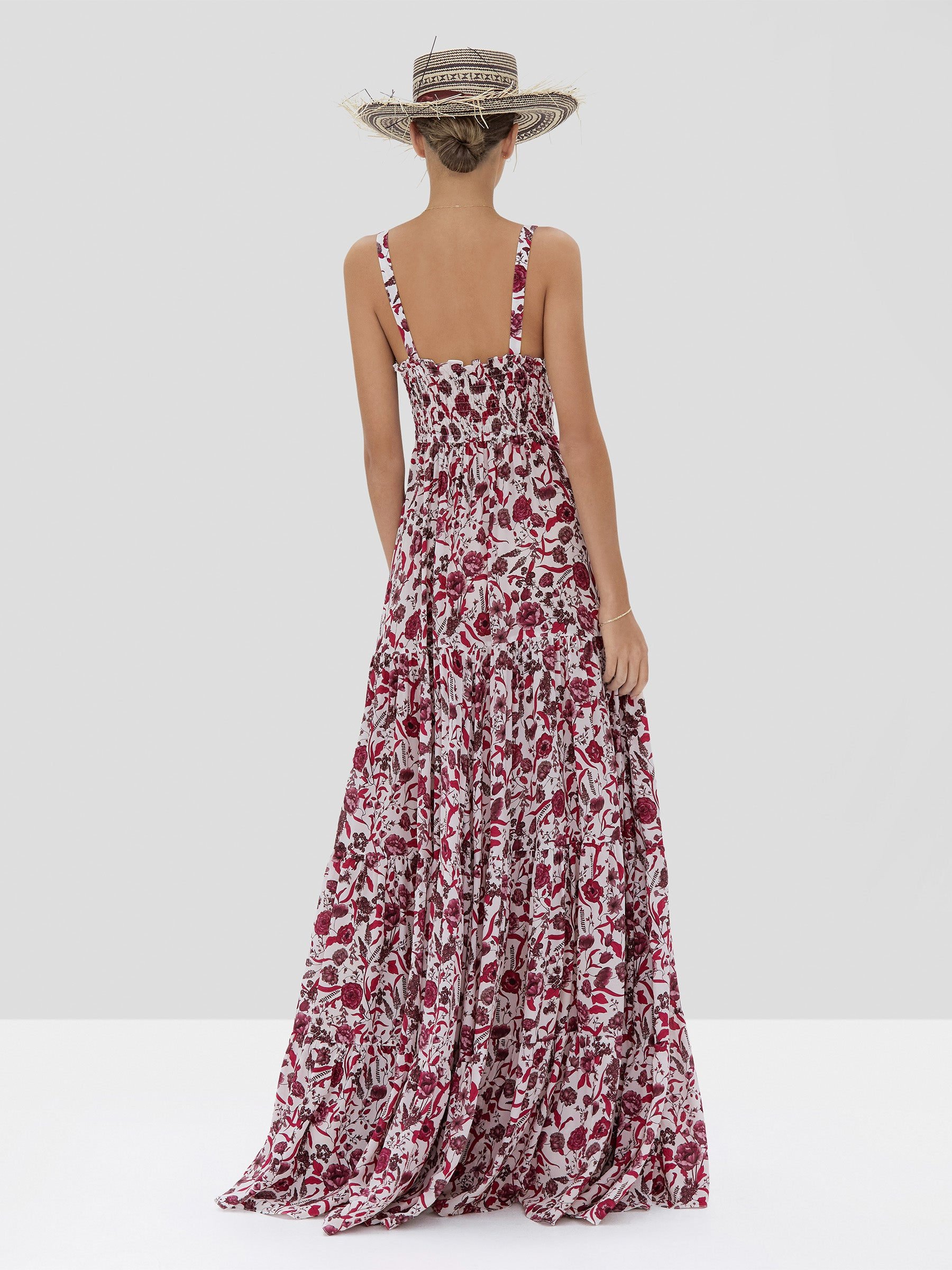 The Zofia Dress in Berry Floral from the Spring Summer 2020 - Rear View