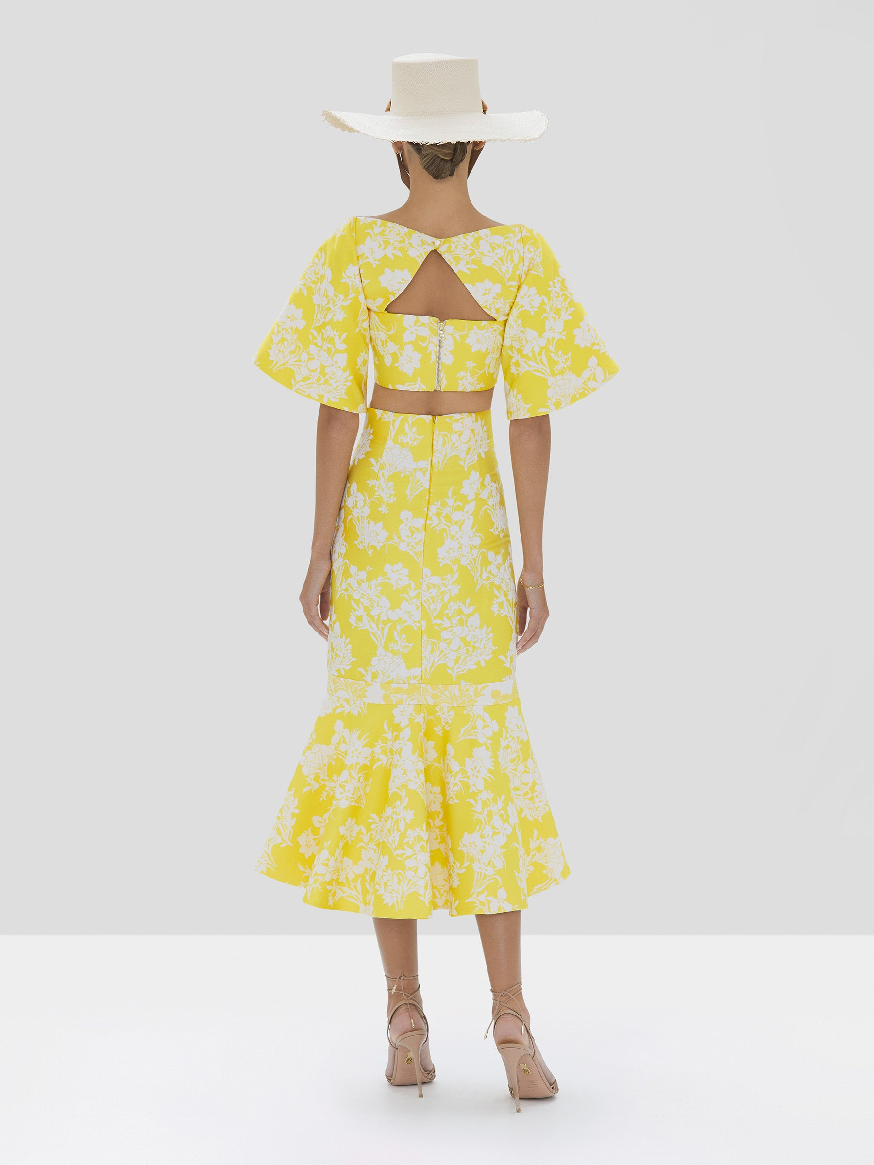 Alexis Oliana Crop Top and Ivorra Skirt in Citrus Jacquard from Spring Summer 2020 Collection - Rear View