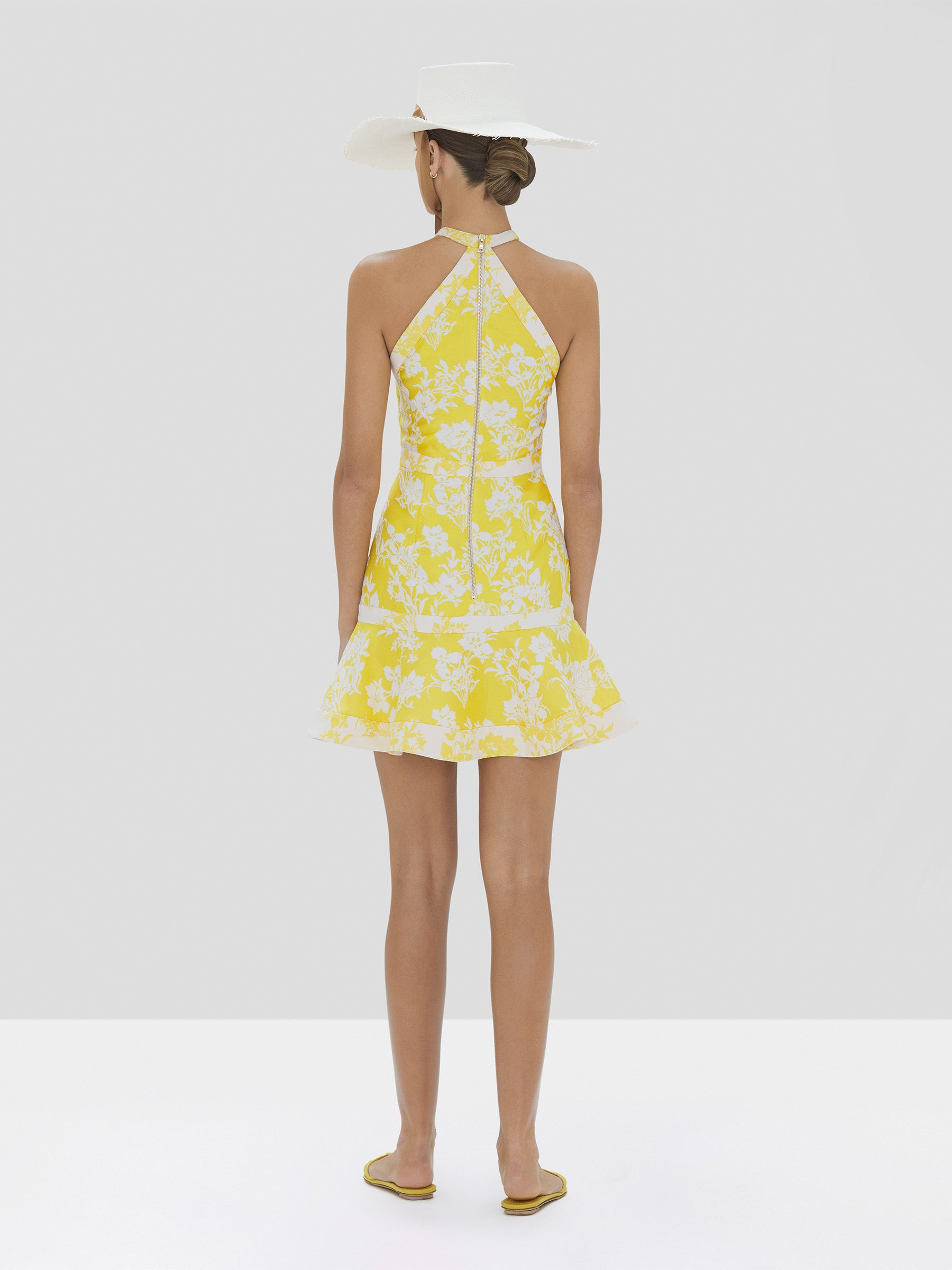 Alexis Solana Dress in Citrus Jacquard from Spring Summer 2020 Collection - Rear View