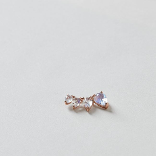 4 Graduated Teardrop Moonstone Ear Cuff 14k Rose Gold