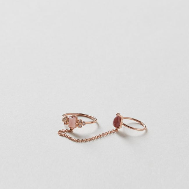 Guava Quartz and Diamond Cluster Chain Ring 14k Rose Gold