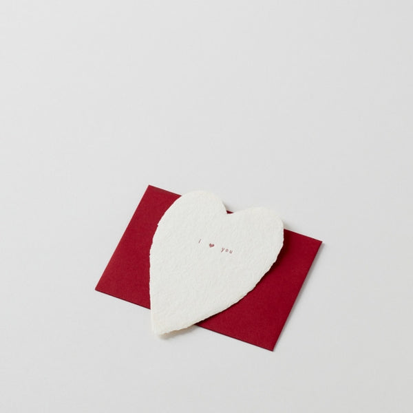 i (heart) you: Handmade Paper Note with Red Envelope