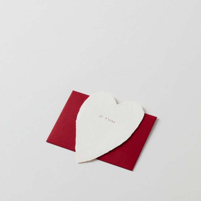 je taime: Handmade Paper Note with Red Envelope