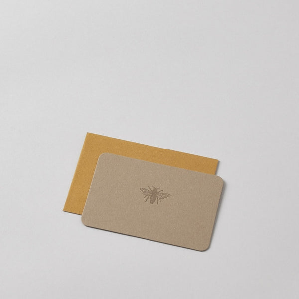 Mini Letterpress Bee Card with Handprinted Letterpress Envelope