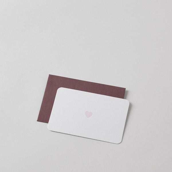 Mini Letterpress Pink Heart Card with Handprinted Letterpress Envelope
