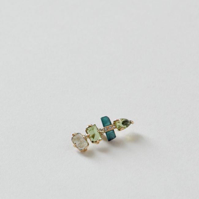 Pave Green Tourmaline Ear Jacket 14k Gold