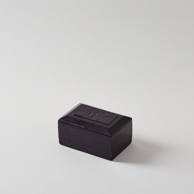 Handmade Leather Eggplant Rectangular Box