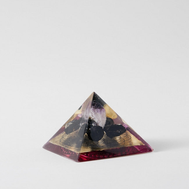 Amethyst Bk Tourmaline Flower of Life Gold and Purple Orgone Pyramid