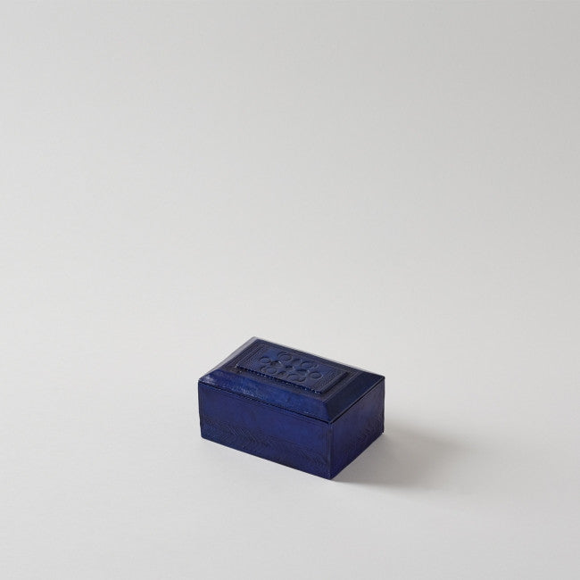 Handmade Leather Blue Rectangular Box