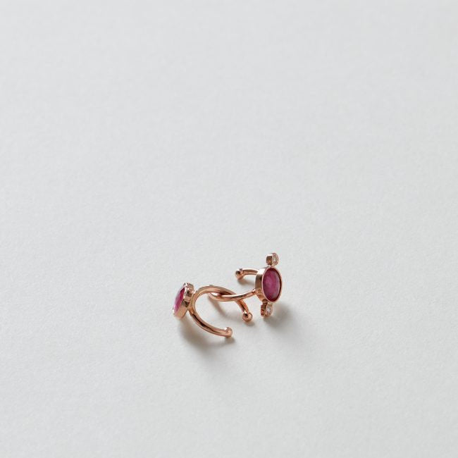 Round Ruby and 2 Diamond Ear Band 14K Rose Gold