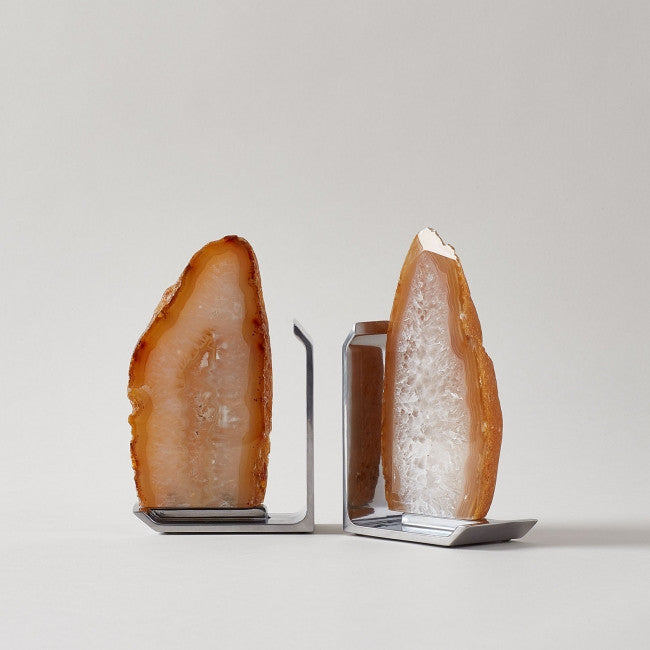 Set of 2 Natural Agate Fim Bookends