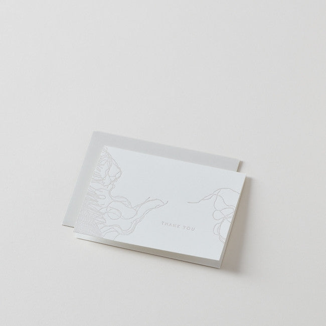 thank you - woven: Handmade Folded Card with White Envelope