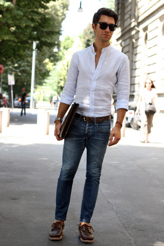White oxford and jeans