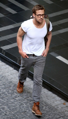White T-shirt and jeans Gosling