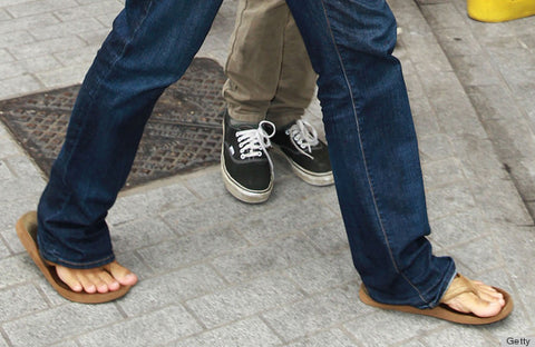 Flip flops and jeans