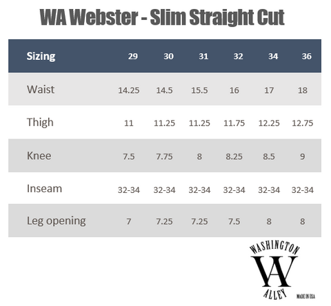 Webster sizing guide