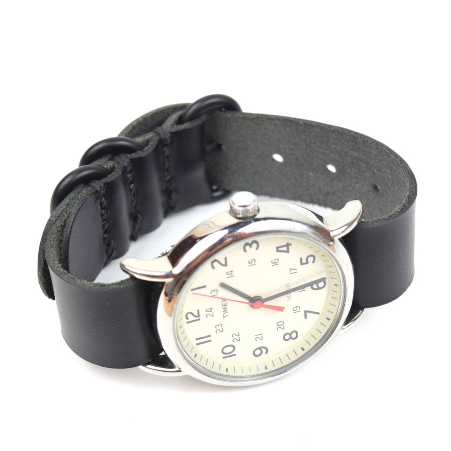 LEATHER WATCH STRAP - HORWEEN CHROMEXCEL BLACK - Washington Alley