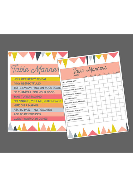 Table Manners Printable