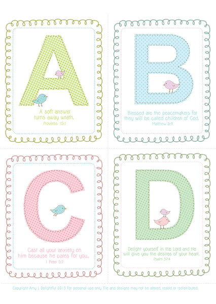 Printable Alphabet and Scripture Flash Cards