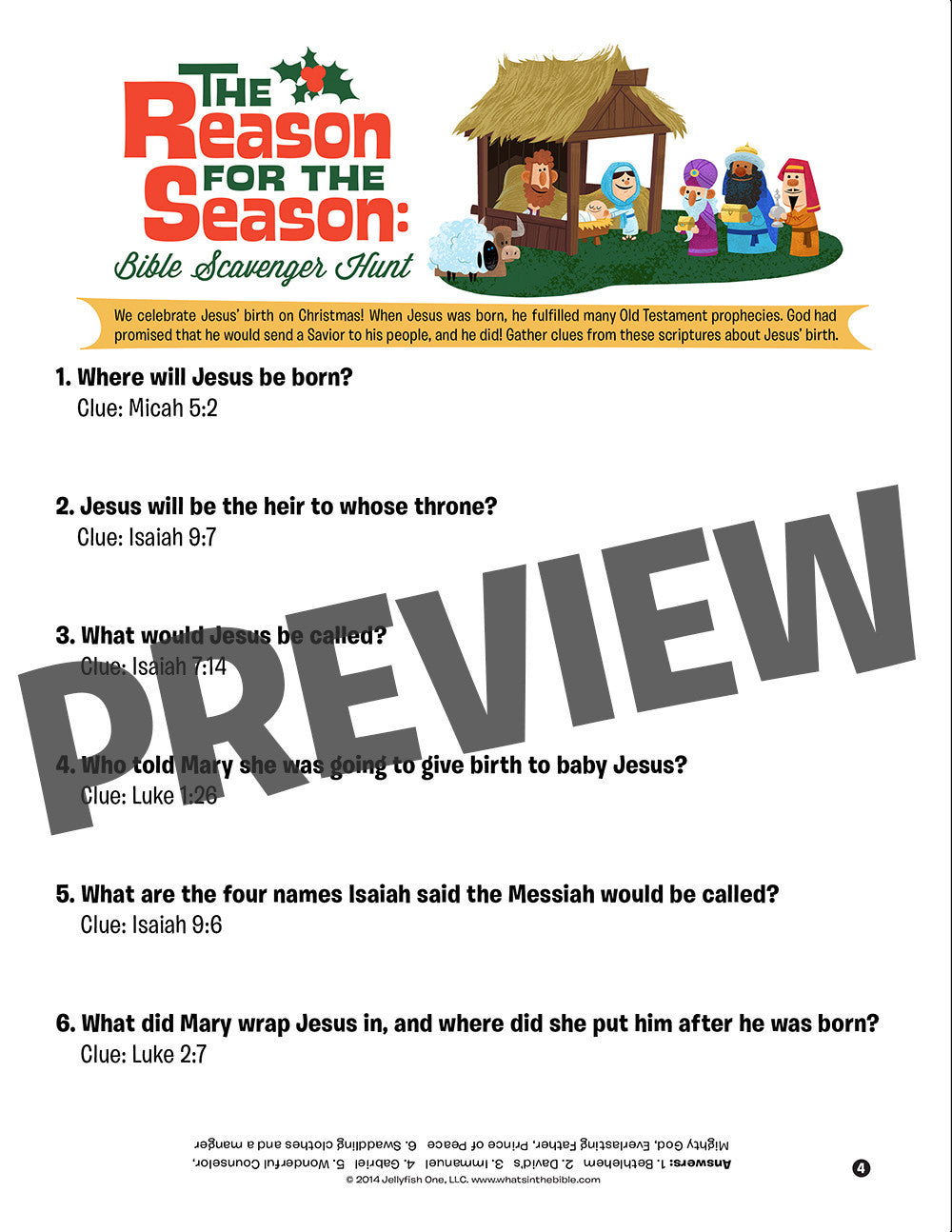 What\'s in the Bible Christmas Memory Activity Pack – JellyTelly