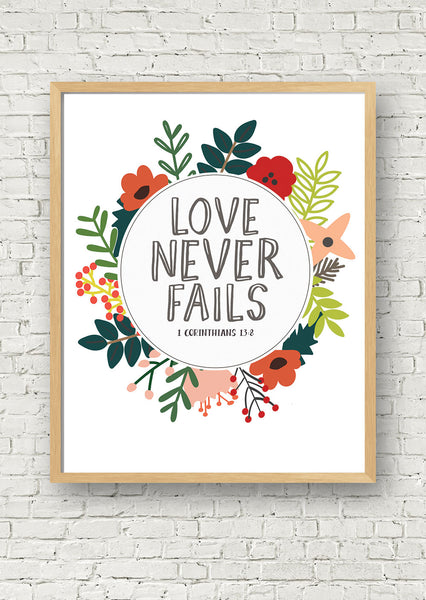 Love Never Fails Printable Art Jellytelly
