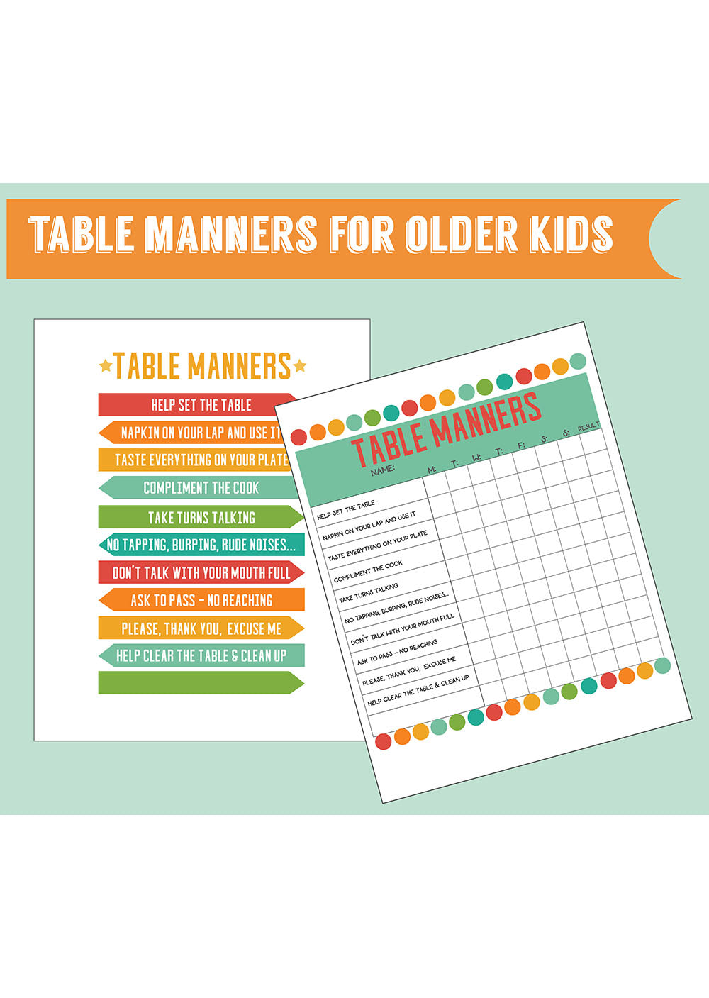 Table Manners Printable Jellytelly