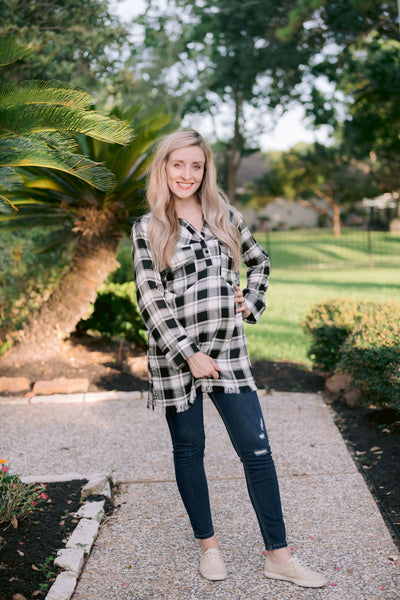 Plaid Popover Button Up Tunic Top - White/Black