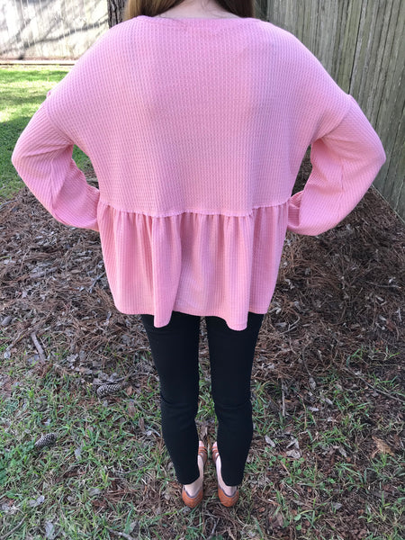 Hey You Babydoll Blouse - Dusty Pink