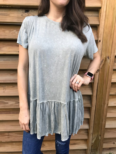 Mineral Wash Tunic Top - Sage