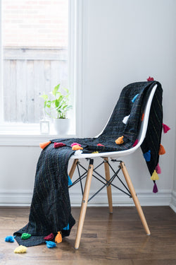 Upcycled Kantha Quilt/Throw - Black