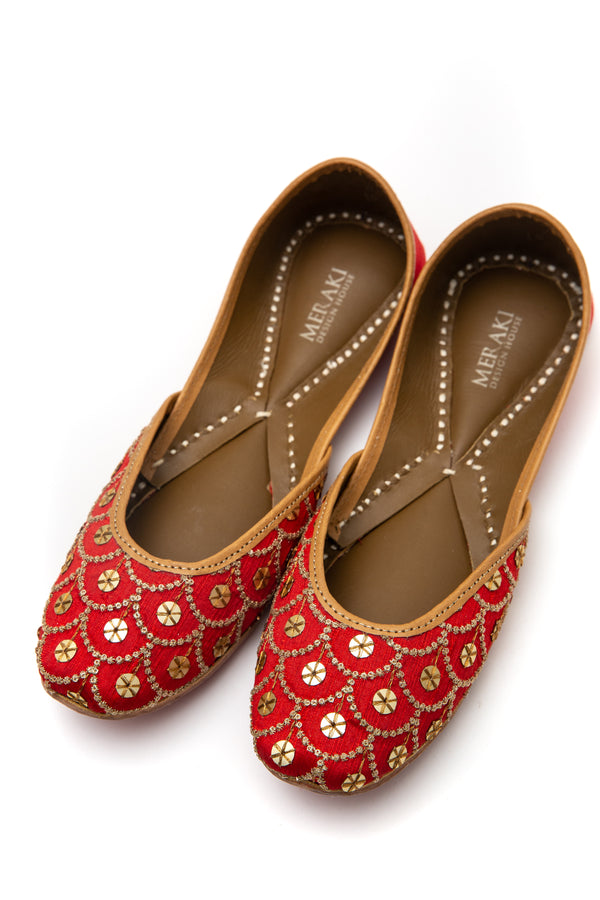 Handcrafted red flats, inspired by the traditional form of South Asian Khussa/Jutti. Made with 100% genuine leather. Beaded flats to keep you comfortable regardless of the occasion.