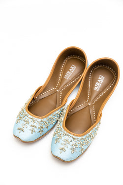 Handcrafted pastel blue flats inspired by South Asian Khussa/Jutti design. Made with 100% genuine leather. Comfortable fancy flats perfect for any occasion especially weddings.