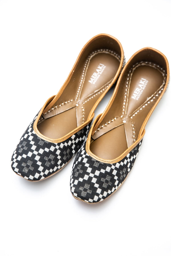 Handcrafted Flats, Traditional Khussa, Traditional Jutti, Casual, Monochrome, Comfortable Flats, Beauty, Fashion, Work From Home, Night Out, Comfy, Black & White, Pattern, Shoes