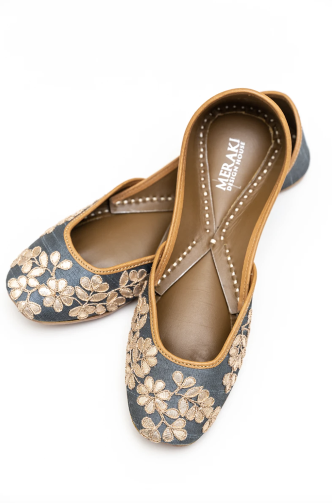 Handcrafted grey flats, inspired by South Asian Khussa/Jutti design. Made with 100% genuine leather. Comfortable fancy flats perfect for any occasion.