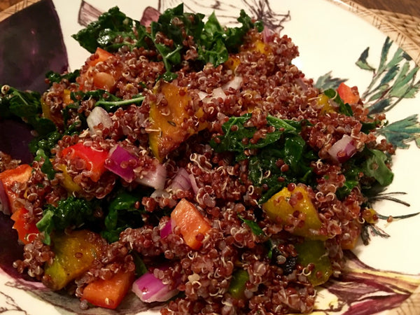 WINTER ROASTED SQUASH, KALE & RED QUINOA SALAD. THE PERFECT COLD WEATHER MEAL IN A BOWL